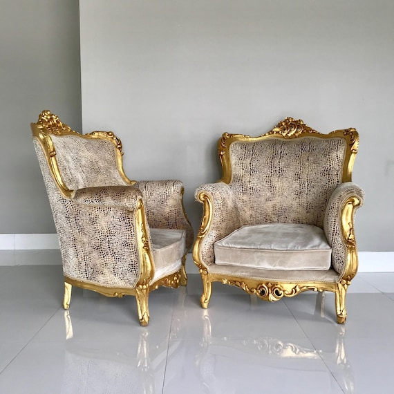image 0 - Rococo Throne French Chair Antique Furniture Gold Leaf Velvet Etsy
