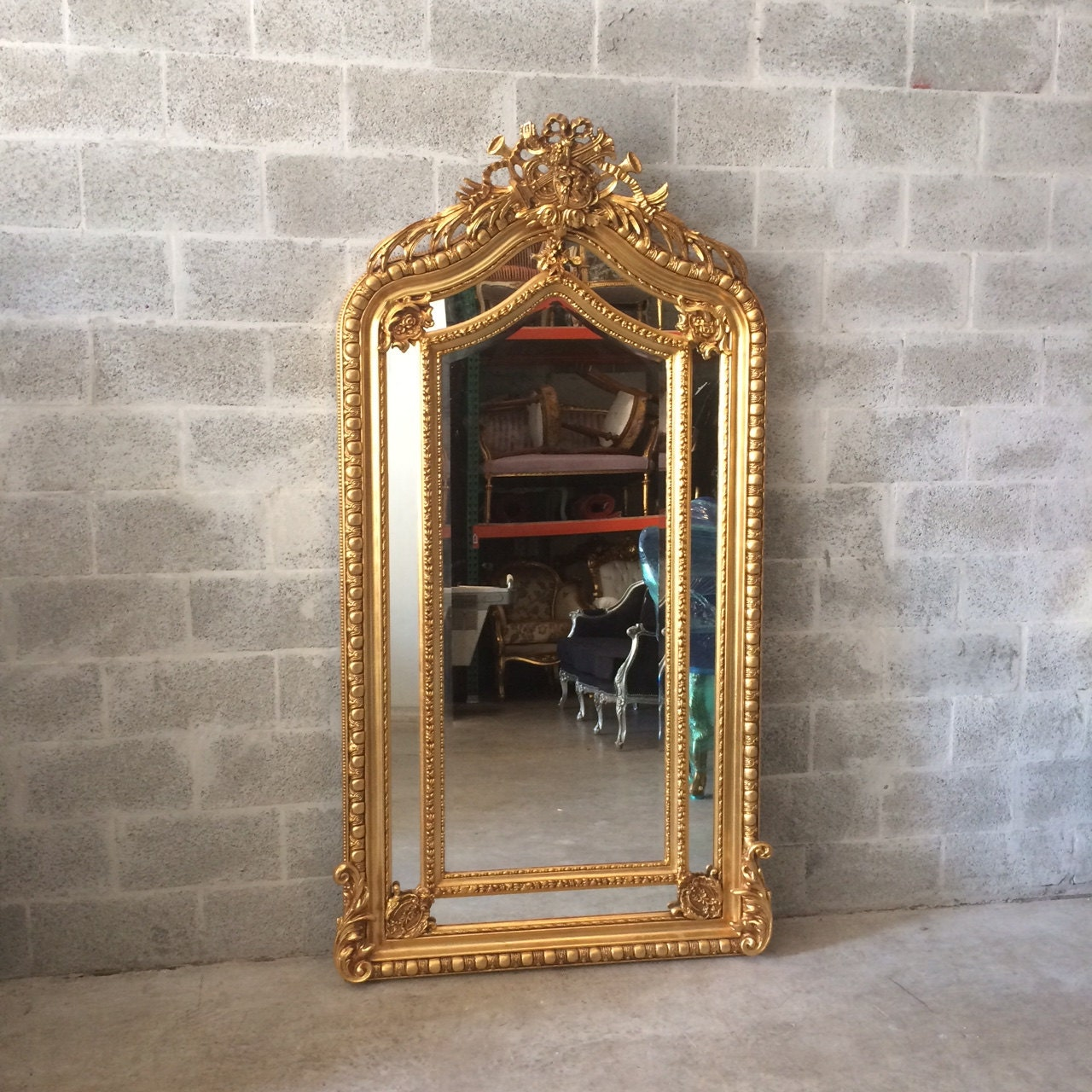 French Mirror Gold Antique Floor Mirror Carved French Furniture 82H ...