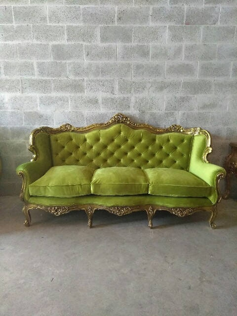 Terrific French Settee Tufted Sofa French Louis Xvi Green Tufted Home Interior And Landscaping Analalmasignezvosmurscom