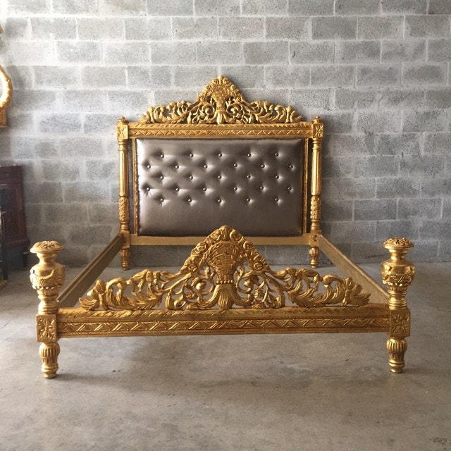Vintage Bed Frame Full Queen Antique Furniture Throne Bed Frame Refinished  Gold Leaf Upholster Platinum Gray Silver French Furniture Baroque