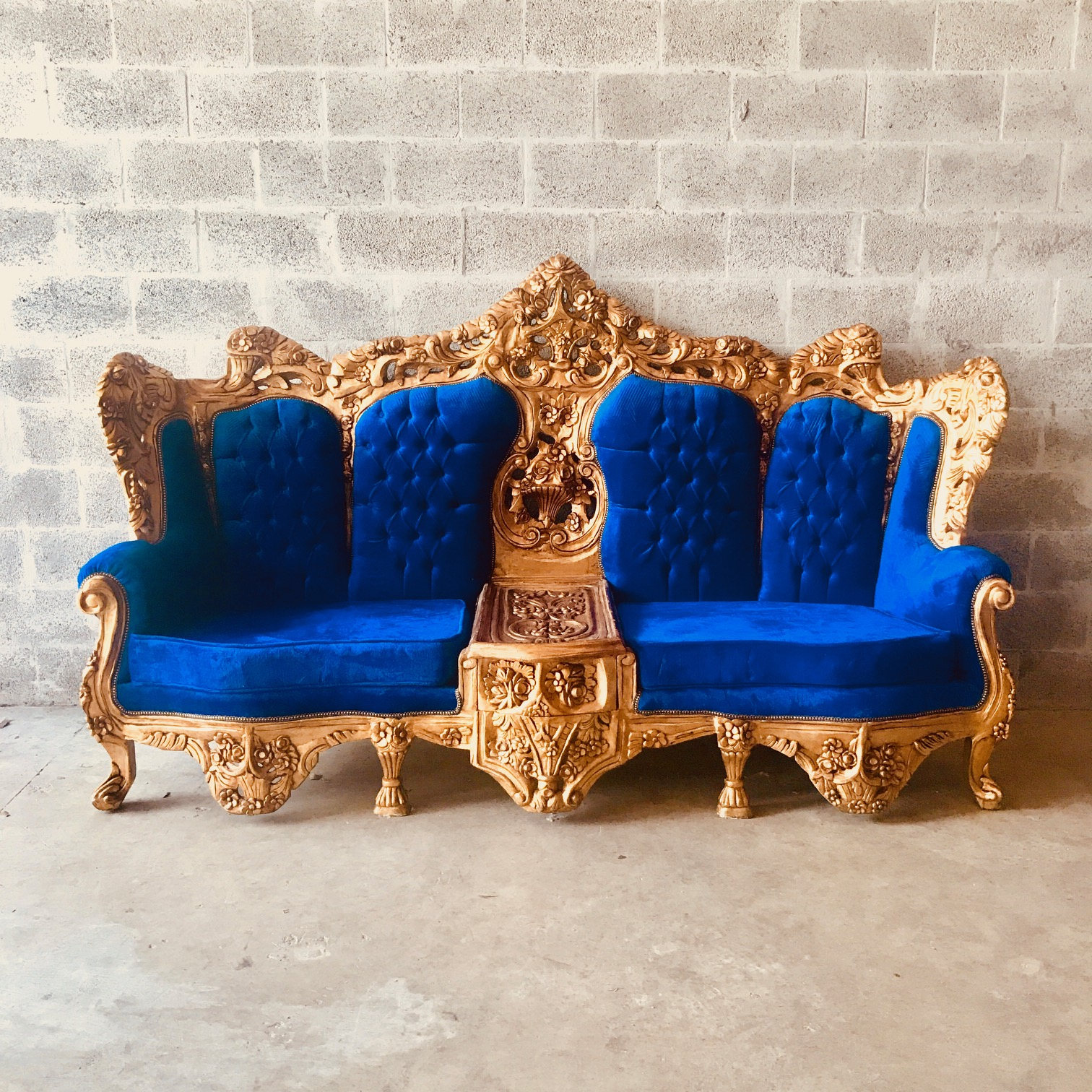Sold Rococo Throne Antique Furniture Blue Velvet Tufted Settee Gold Leaf French Settee Louis Xvi French Furniture Throne Settee Baroque