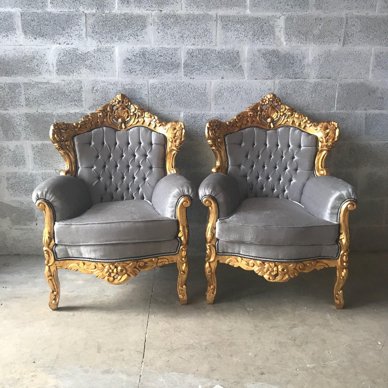 Ordinaire Rococo Throne Chair Antique Furniture Silver Gray Velvet Tufted Chair *3  Piece Set Avail* Gold Leaf French Chair Louis XVI French Furniture