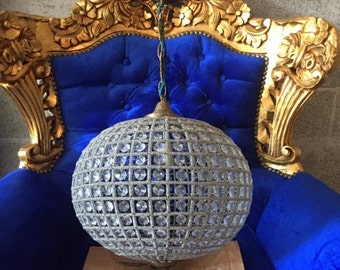 """Large Sphere Chandelier 27"""" Round Empire Detailed Ball Chandelier Interior Design FREE SHIPPING *2 Available* USA Re-Wired"""