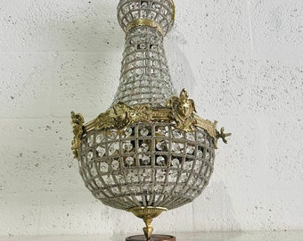 """French Chandelier Vintage 26""""H x 13""""W *2 Available* Vintage Furniture Antique Chandelier French Louis XVI Style Gold Beads Cherub Chandelier"""