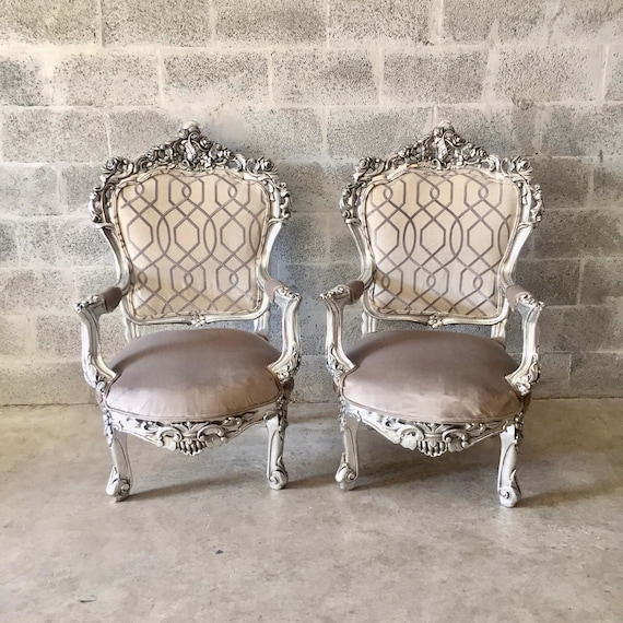 Antique Chair Silver Leaf Italian, Silver Leaf Furniture