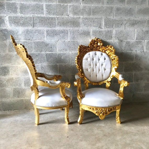 Gold Tufted Chair Antique Italian Rococo Furniture Throne Etsy