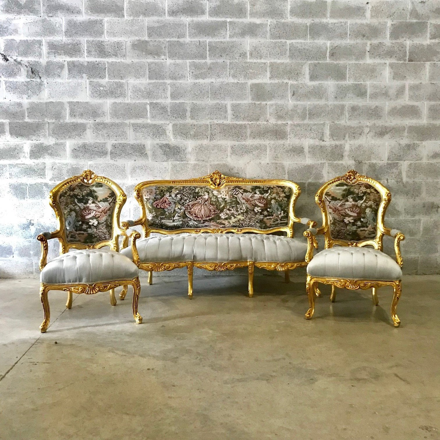 Miraculous French Chair Antique French Settee 3 Piece Set Vintage Evergreenethics Interior Chair Design Evergreenethicsorg