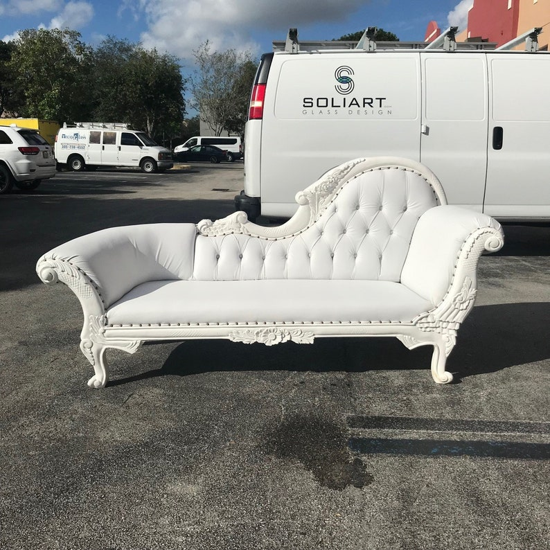 French Chaise Lounge Furniture Tufted White Leather