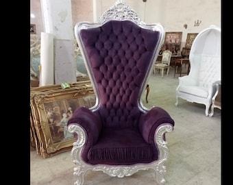 Silver Throne Chair Purple Velvet Chair French Tufted Chair Throne Tufted Velvet Chair Tufted Silver Frame Chair Rococo Interior Design