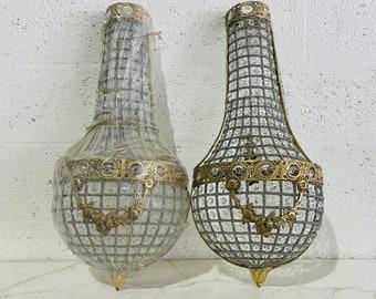 "French Sconces French Basket Sconces LARGE 26""H Bowl Basket Garland Sconces Interior Design Large Sconces French Empire Wall Sconces"
