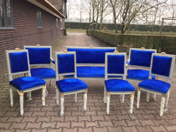 French Chair Louis XVI Settee 7 Piece Set Furniture Royal Blue | Etsy
