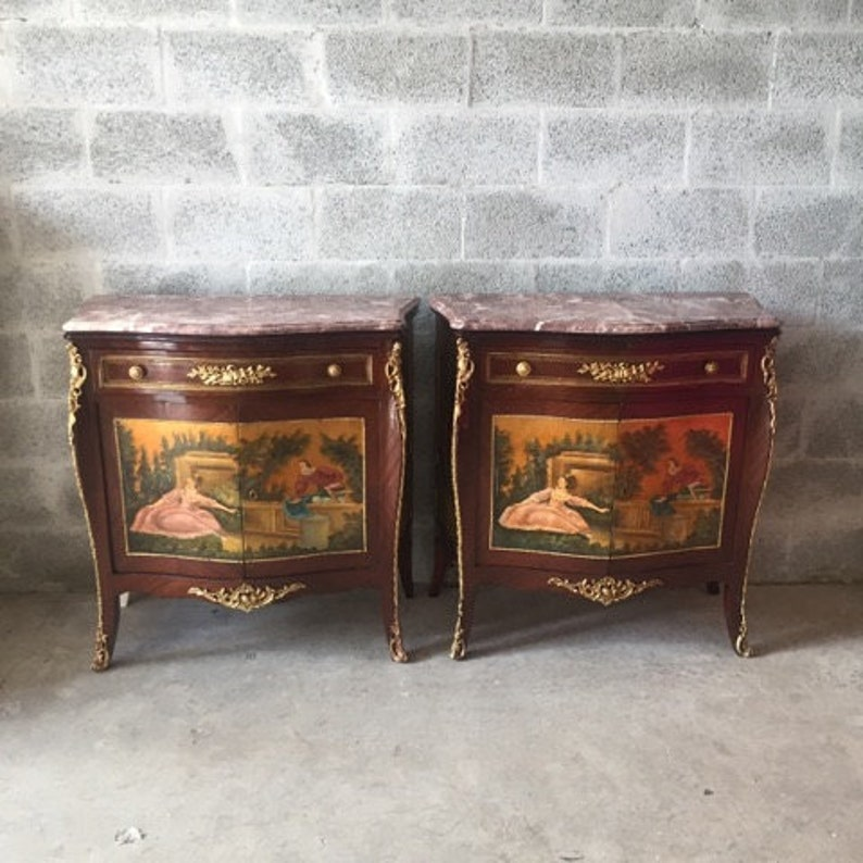 French Commode French Furniture Handpainted Set Of 2 Etsy