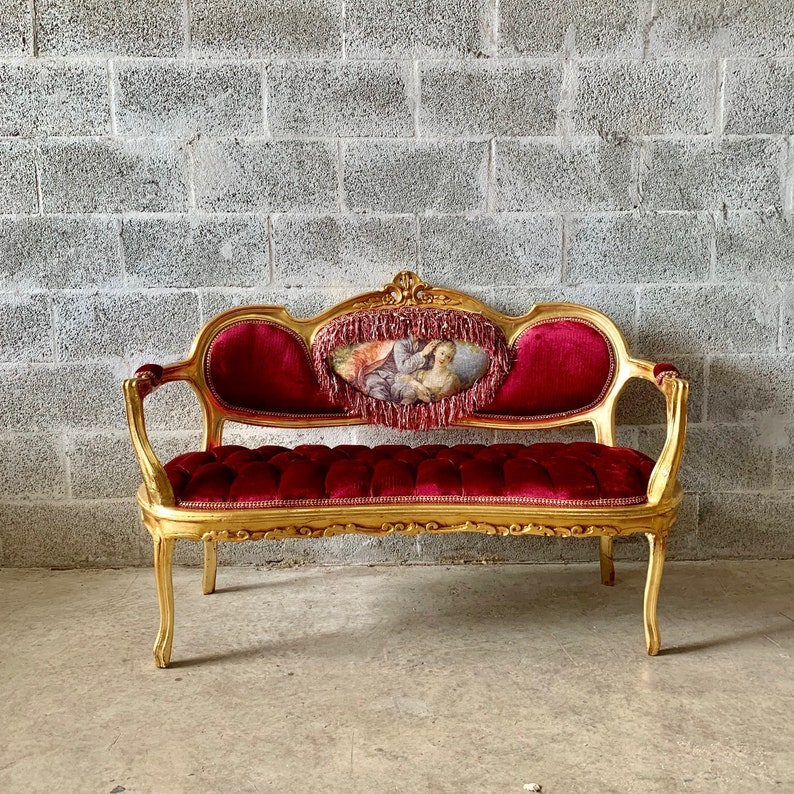 Fabulous French Marquise French Vintage Furniture Tufted Sofa French Tufted Settee Refinish New Fabric Interior Design Home Interior And Landscaping Analalmasignezvosmurscom