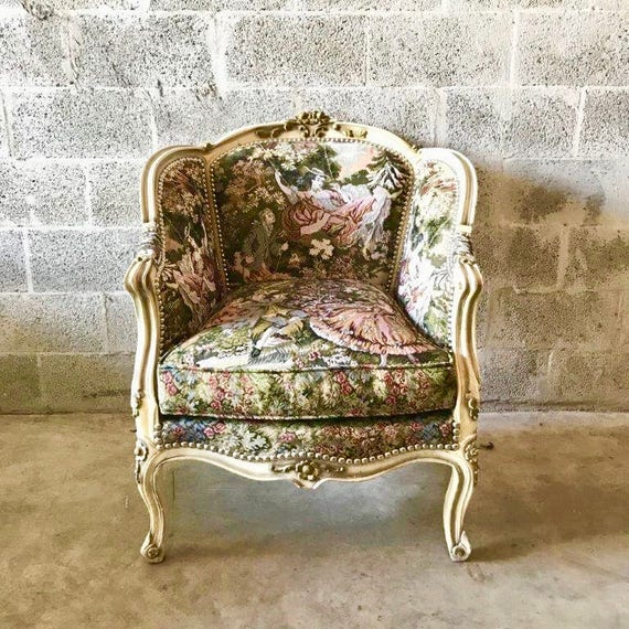 French Chair Romeo Juliet Upholstery Fabric Bergere Cream