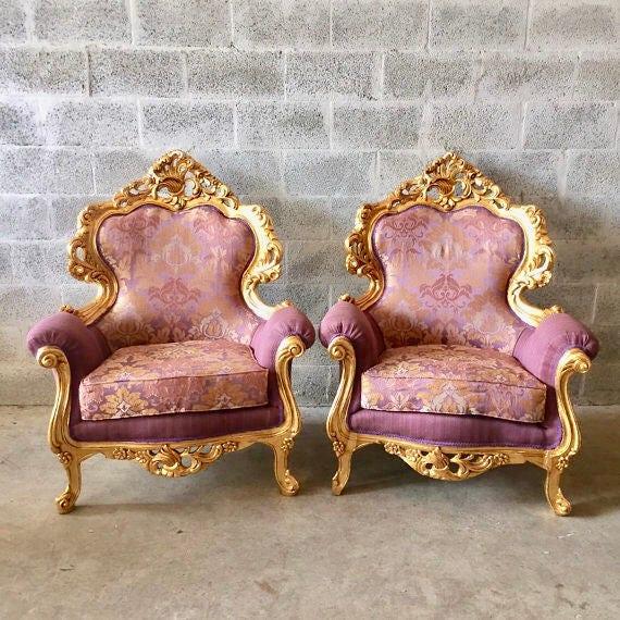 Rococo Furniture Bergere Chair Antique Italian Throne *4 Chairs Avail* Gold  Leaf Purple Lavender Damask Baroque Furniture Rococo Louis XVI