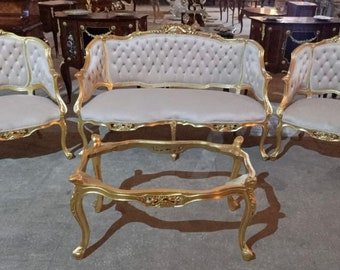 French Chair Tufted Chair 4 Piece Set Available French Settee Vintage Chair Vintage Furniture Chair Tufted Settee Rococo Interior Design