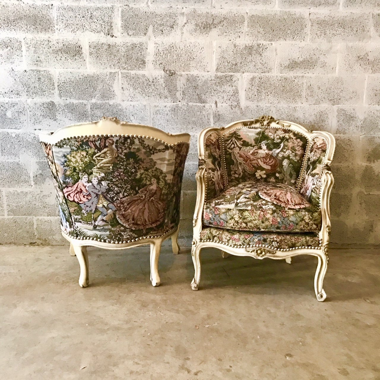 French Chair Romeo Juliet Upholstery Fabric Bergere Cream Beige