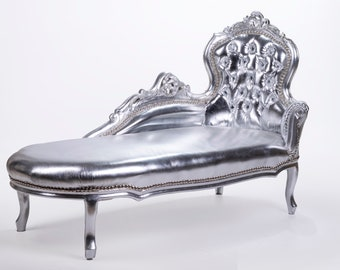 Vintage Chaise Lounge Furniture Sofa Silver Settee French Chaise Lounge Baroque Furniture Rococo Interior Design Silver Leather Fabric