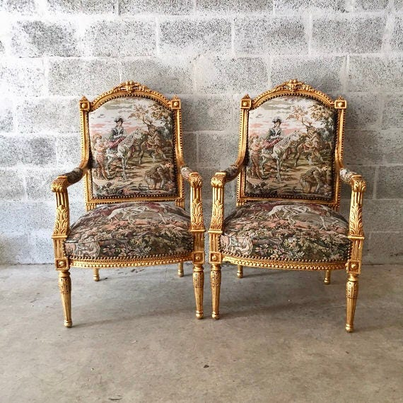 French Furniture Gold Chair Antique Louis Xvi 2 Chairs Available