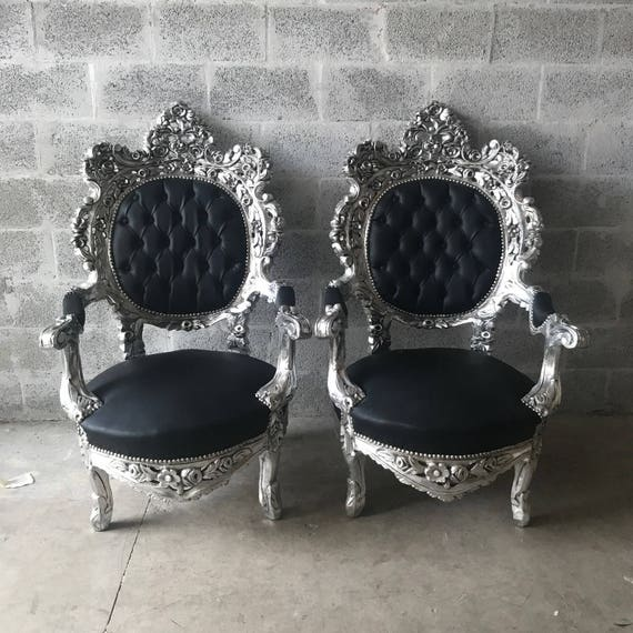 Beau Silver Tufted Chair Antique Italian Rococo Furniture Throne | Etsy