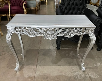 French Table Silver French Console Table White Marble Baroque Furniture Rococo Table French Furniture Baroque Console Marble Table