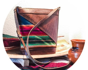 d31062d6b7790b Authentic Bolivian Leather   Woven Fabric Large Purse