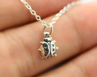 TINY LADYBUG CHARM Necklace - 925 Sterling Silver - Insect Lucky Love *New*