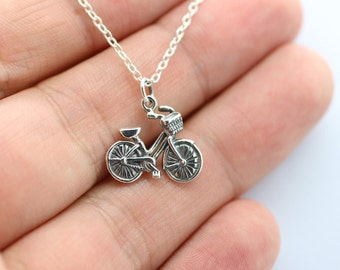 BICYCLE NECKLACE - 925 Sterling Silver Charm Necklace *NEW* Bike Charm Rider