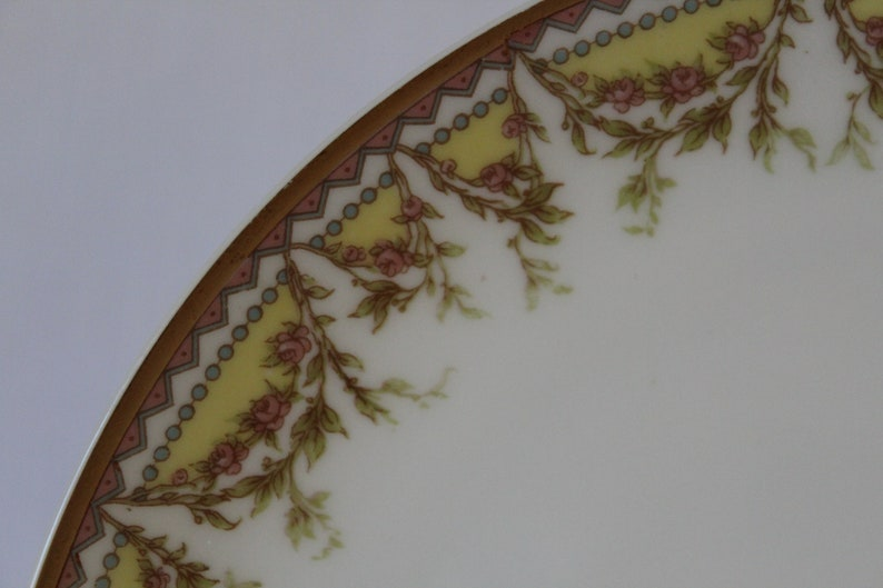 Haviland /& Co Limoges Plate with Gold Arches and Roses Pattern
