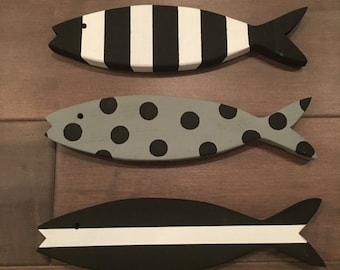 SET OF 3 - Wooden Fish - Wooden Painted Fish - Set of Three