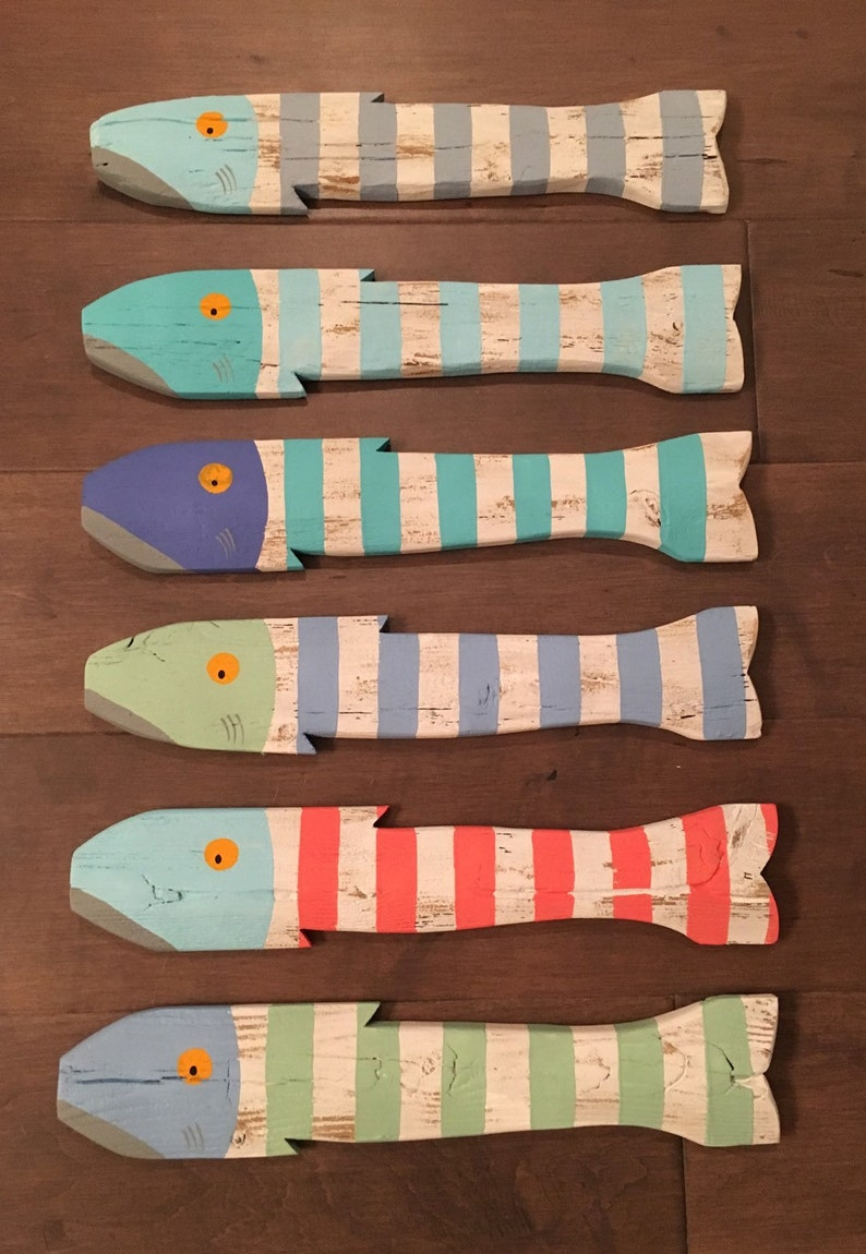 Set Of 6 Wooden Fish Nautical Fish Decor Reclaimed Fish Reclaimed Picket Fence Fish