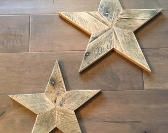 Set of 2 - Reclaimed Wood Star - Wooden Star - Star Wall Art