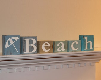 Beach Blocks Wooden Letter - Nautical Themed Distressed Beach Blocks - Room Decor