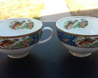 W.H. Grindley blue wreath bird floral tea cups (2).
