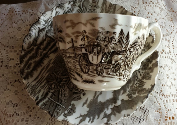 Mid Century Tea Cup and Saucer Royal Mail  Made in England by Staffordshire Ironstone Ready to Ship