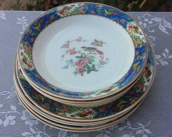 W. H. Grindley and CO, blue wreath bird floral bowls & plates.