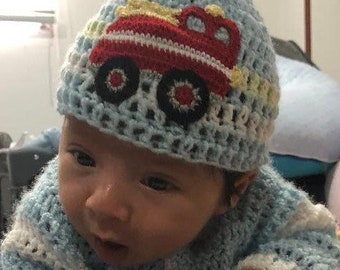 26e0ab94815 Newborn Baby Boy Girl Hat Beanie Baby Shower Gift Hospital Hat Coming Home  Outfit New Parent Photo Props Fire Truck Made to Order