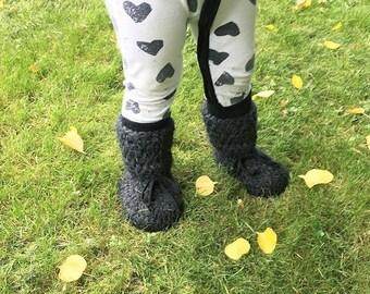 TODDLER booties - tall - charcoal - non slip sole - gender neutral baby gift - sheepskin - fleece