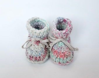 TODDLER ANKLE booties - baby - wool and acrylic yarn - non slip sole - crochet - first christmas