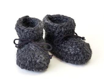TODDLER slippers - ankle height -sheepskin - fleece   - wool - non slip sole - crochet - baby gift