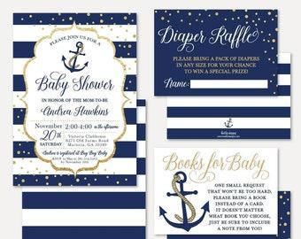 Nautical Baby Shower Invitation Suite Template Package Bundle SetInvitation Raffle Request