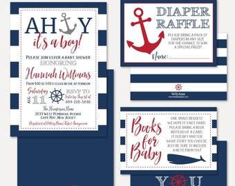 06092899d4979 Ahoy It's A Boy Nautical Baby Shower Invitation Suite Template -Shower  Invitation Package, Bundle, Invitation Set,Invitation, Raffle Request
