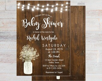 afc56212f53e Rustic Wood Babys Breath Shower Invite Printable