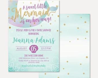 Mermaid Baby Shower Invitation Etsy