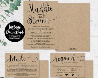 Cheap Wedding Invitations.Wedding Invitation Template Download Etsy