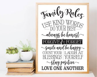 Family Rules Printable Sign Set, Home Decor Gifts, Bedroom Wall Decor Over the Bed, Home Wall Printable, Minimalist Art Romance
