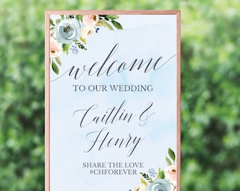 Dusty Blue and Pink Hexagon Floral Wedding Welcome Sign Template, Welcome Sign for Wedding Reception, Wedding Calligraphy Sign, Editable