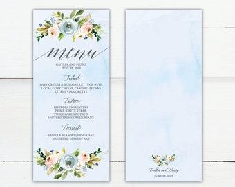 Dusty Blue and Pink Hexagon Flroal Wedding Party Menu Template, 4x8 Editable Printable Dinner Menu, DIY PDF Instant Download, Hadley Designs