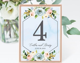 Dusty Blue and Pink Hexagon Floral Wedding Table Number Cards Template, Printable Rustic Calligraphy Table Number Cards, Hadley Designs