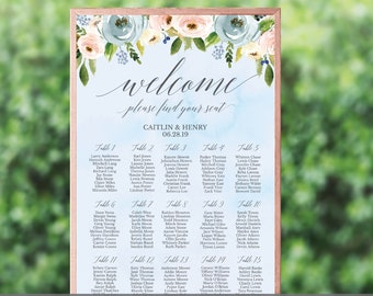Dusty Blue and Pink Hexagon Floral Wedding Seating Chart Sign, Template Seating Chart, Seating Plan Printable, Wedding Seating Plan